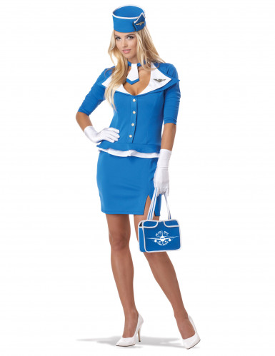 Sexy blauw stewardess kostuum voor vrouwen