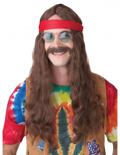 Hippie pruik met snor voor volwassenen