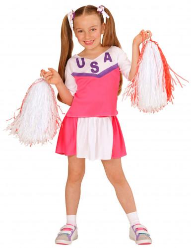 Wit-roze cheerleader kostuum voor meisjes
