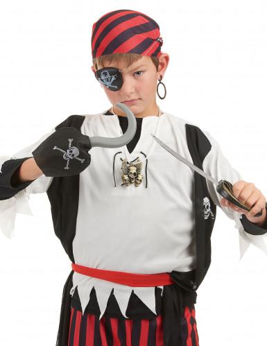 Piratenset - Sabel, haak, speld, ooglapje en een oorbel voor kinderen-1