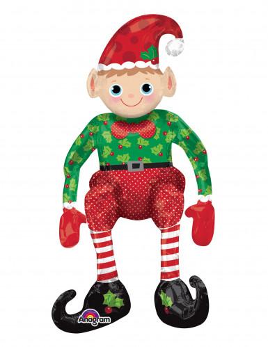 Grote rode en groene kerstelf ballon