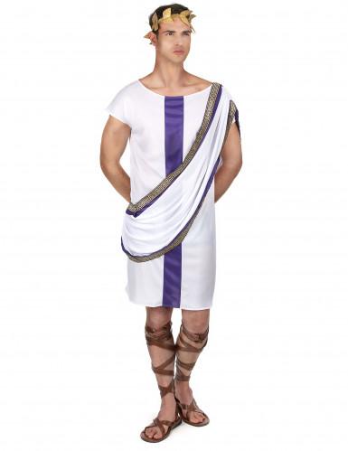 Wit en paars Romeins kostuum voor mannen