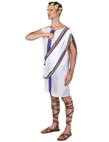 Wit en paars Romeins kostuum voor mannen-1