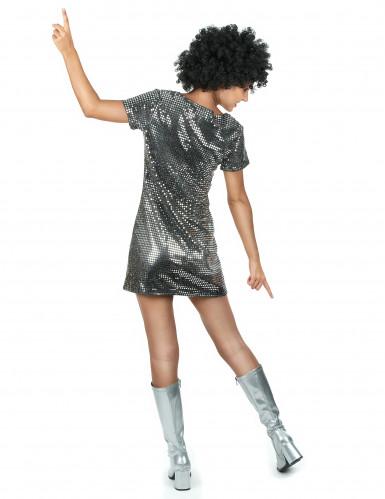 Zilverkleurige disco jurk voor vrouwen-2