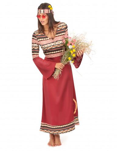 Bordeaux rood hippie kostuum voor vrouwen