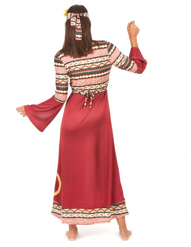 Bordeaux rood hippie kostuum voor vrouwen-2