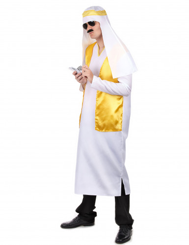 Arabische sjeik kostuum wit en geel voor mannen-1