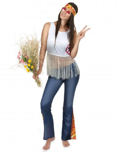 Flower Power hippie retro kostuum voor dames-1