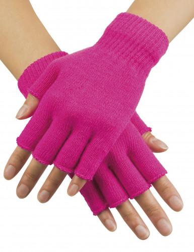 Fluo roze vingerloze handschoenen volwassenen