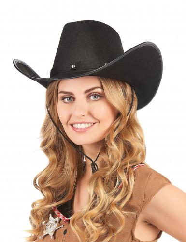 Zwart cowboy hoed voor heren-2