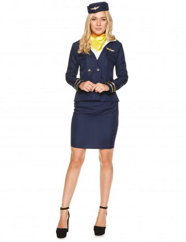 Blauwe stewardess kostuum voor vrouwen-1