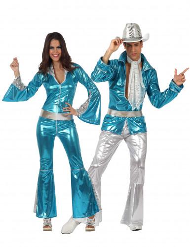 Blauw disco koppelkostuum voor volwassenen