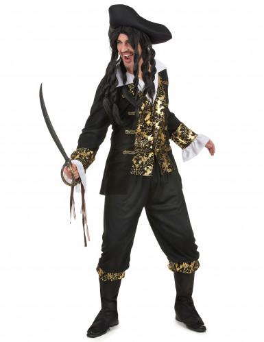 Zwart-goudkleurig piraat kostuum voor mannen-1