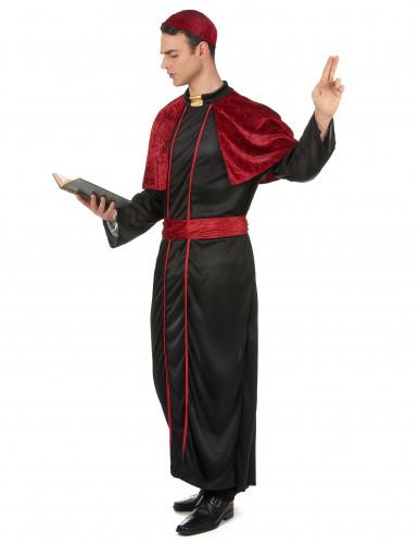 Rood en zwart bisschop kostuum voor mannen-1