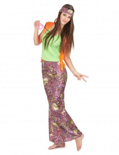 Groen-oranje hippie kostuum voor vrouwen-1
