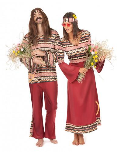 Bordeaux hippie koppelkostuums voor volwassenen