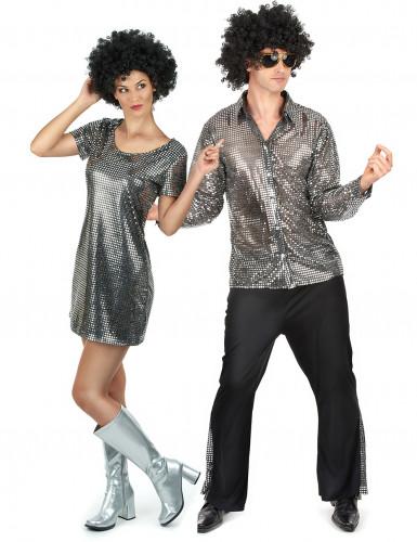 Zilverkleurig disco koppel kostuums voor volwassenen