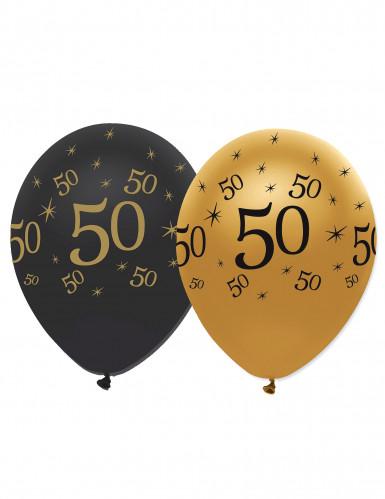 Set goud-zwarte 50 jaar ballonnen