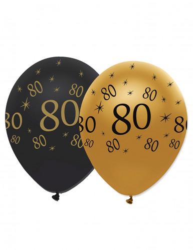 6 zwart-goud ballonnen 80 jaar