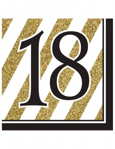 16 servetten 18 jaar zwart-goud