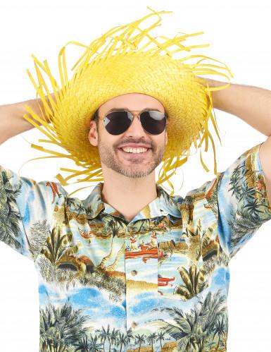 Gele Hawaii hoed voor volwassenen-1