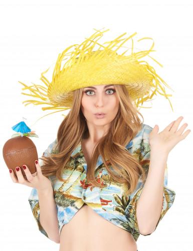 Gele Hawaii hoed voor volwassenen-2
