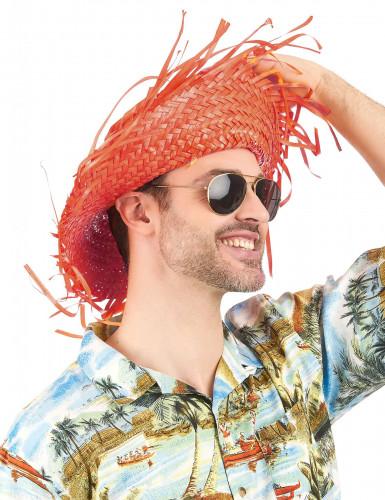 Oranje Hawaii hoed voor volwassenen-1