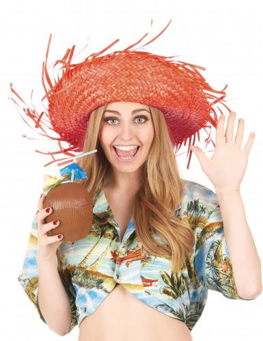 Oranje Hawaii hoed voor volwassenen-2