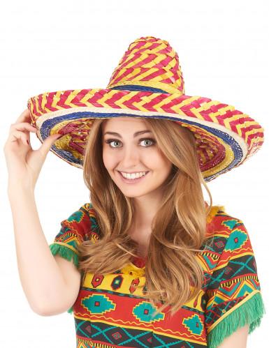 Rode en gele Mexicaanse sombrero voor volwassenen-1