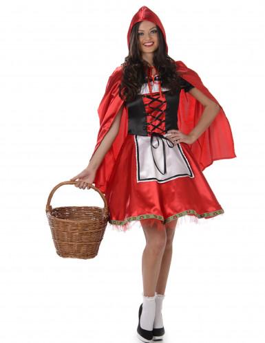 Rood en zwart Roodkapje kostuum voor vrouwen