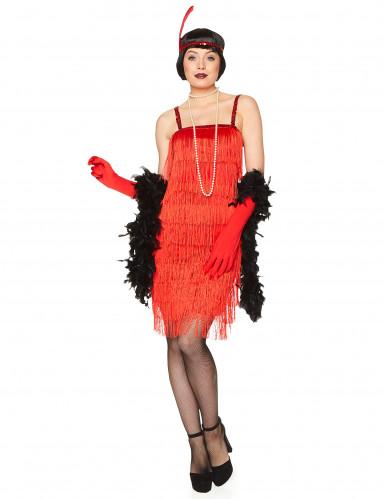 Rood charleston kostuum met franjes voor dames-1