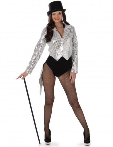Zilverkleurig cabaret kostuum voor dames