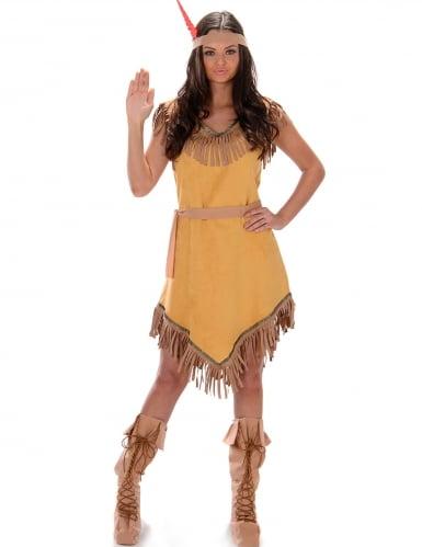 Geel indianen kostuum voor vrouwen