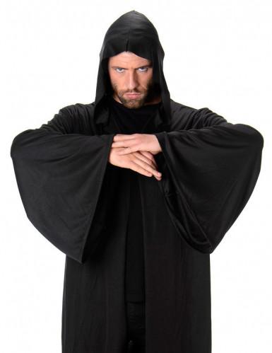 Lange donkere cape met capuchon voor mannen-1