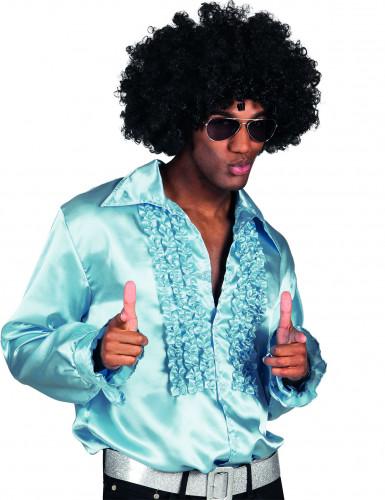 Licht blauw disco overhemd voor heren