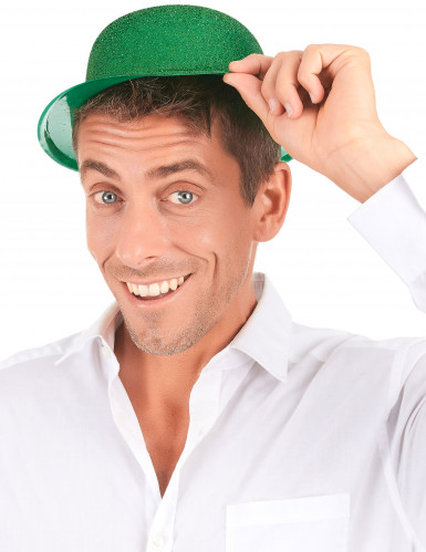 Groene glitterhoed volwassenen-2