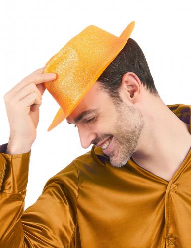 Oranje glitterhoed voor volwassenen-1