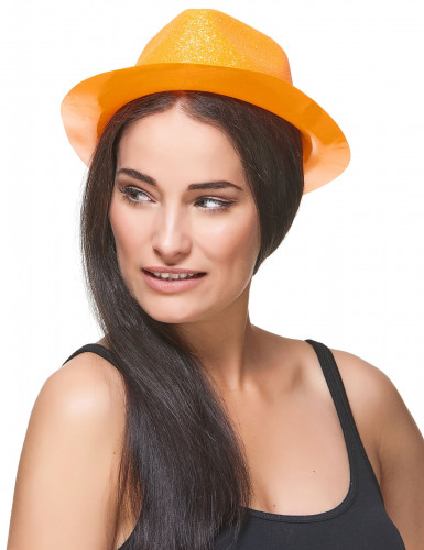Oranje glitterhoed voor volwassenen-2