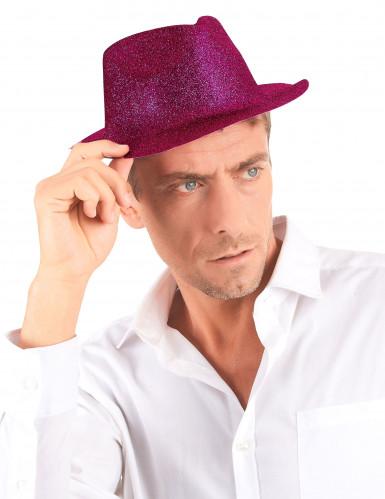 Donkerroze glitter hoed voor volwassenen-2