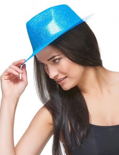 Blauwe glitterhoed voor volwassenen-2