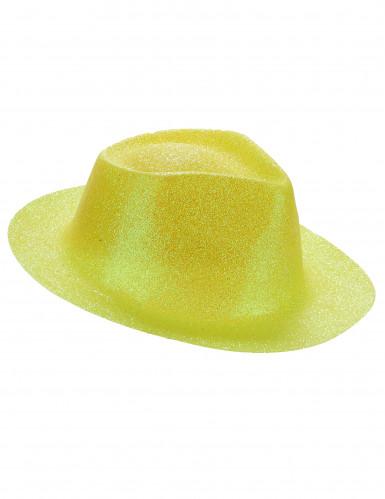 Gele glitterhoed voor volwassenen