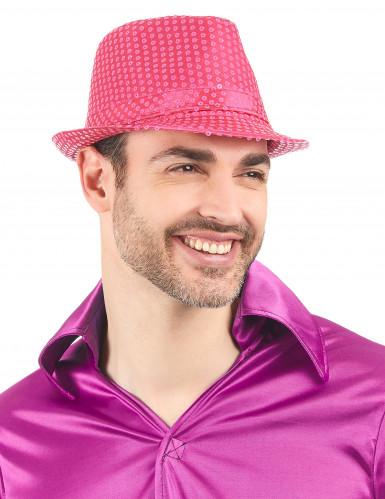 Roze borsalino hoed met lovertjes voor volwassenen-1