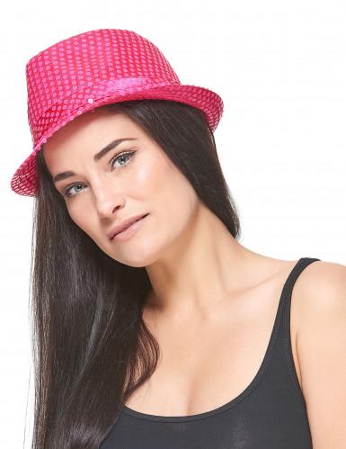 Roze borsalino hoed met lovertjes voor volwassenen-2