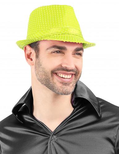 Gele pailletten hoed voor volwassenen-1