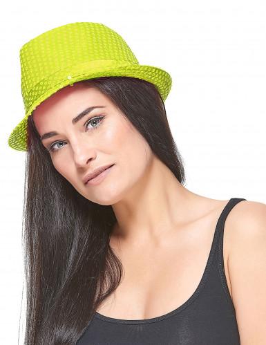 Gele pailletten hoed voor volwassenen-2
