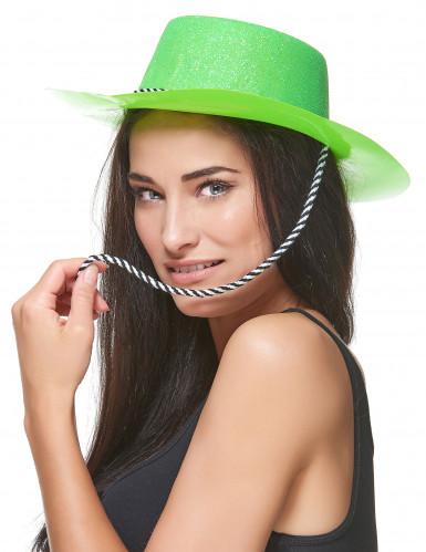 Groene cowboy hoed met glitters volwassenen-1