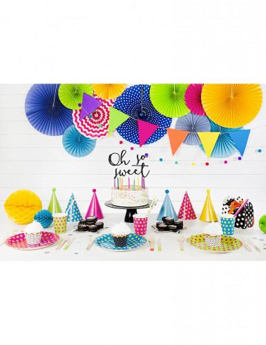 6 kleurrijke feesthoedjes met pompons-2