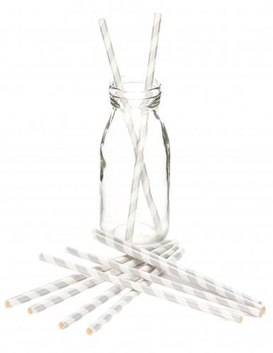 10 zilverkleurige gestreepte rietjes-1