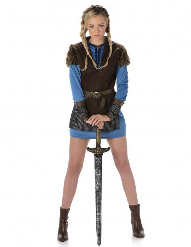 Blauw Viking kostuum voor vrouwen