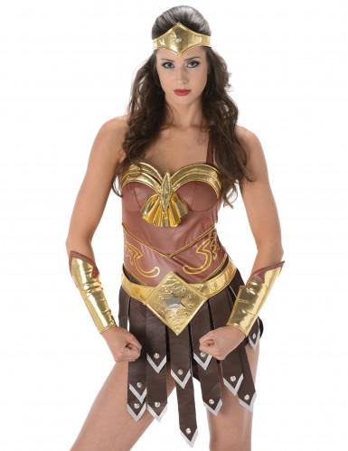 Sexy bruine en goudkleurige gladiator outfit voor vrouwen-1